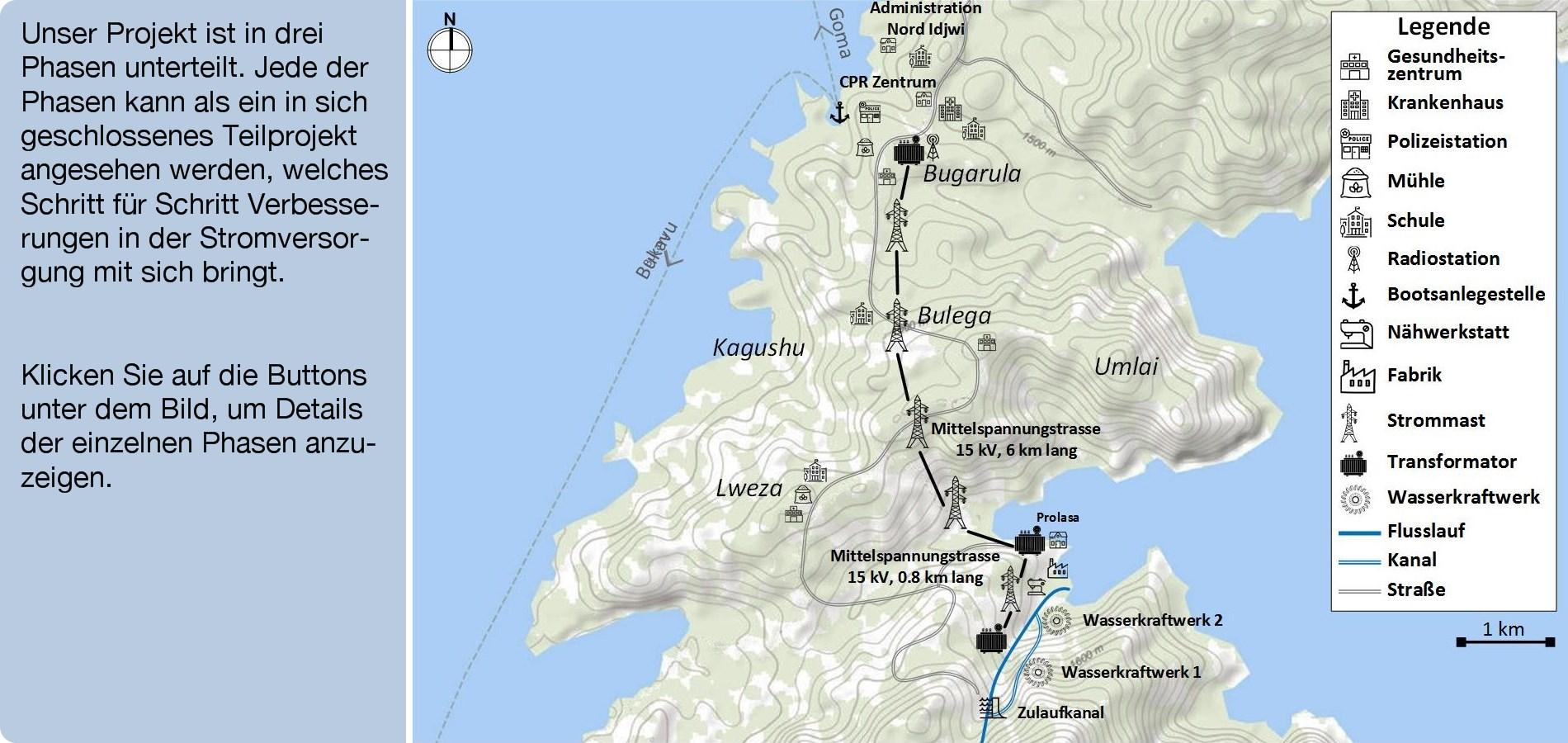 Karte des Projekts Hydroélectricité Idjwi