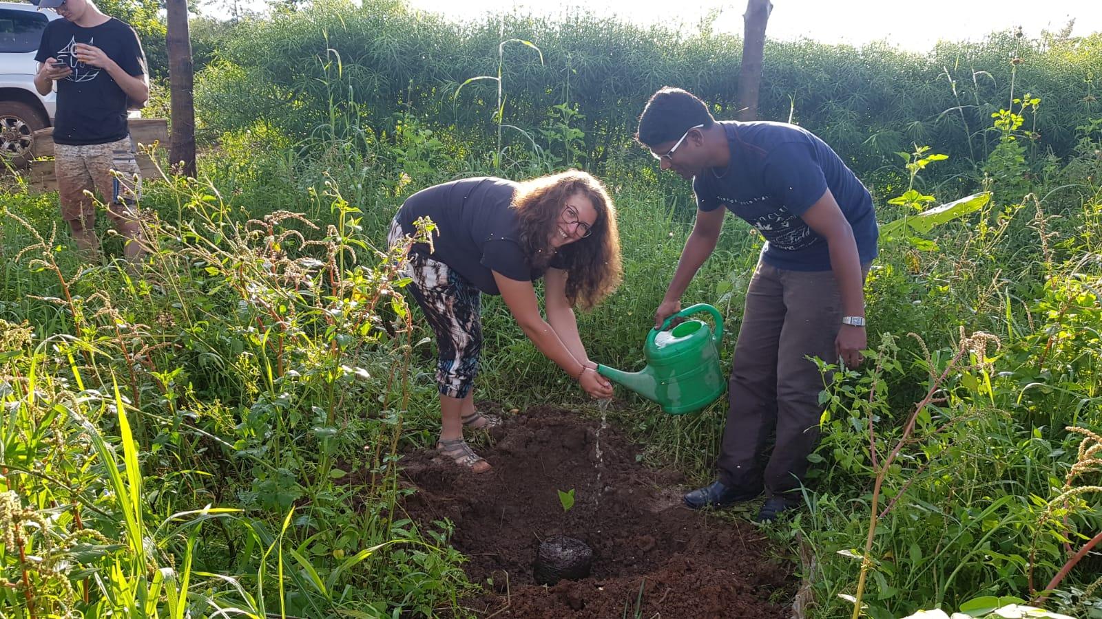 Als Anerkennung bekommt Projektleiterin Kathi zum Abschied einen Baum für die Ewigkeit gepflanzt